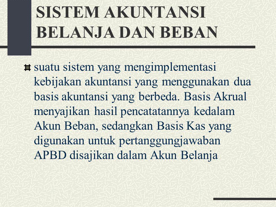 SISTEM AKUNTANSI BELANJA DAN BEBAN suatu sistem yang mengimplementasi kebijakan akuntansi yang menggunakan dua basis akuntansi yang berbeda. Basis Akr