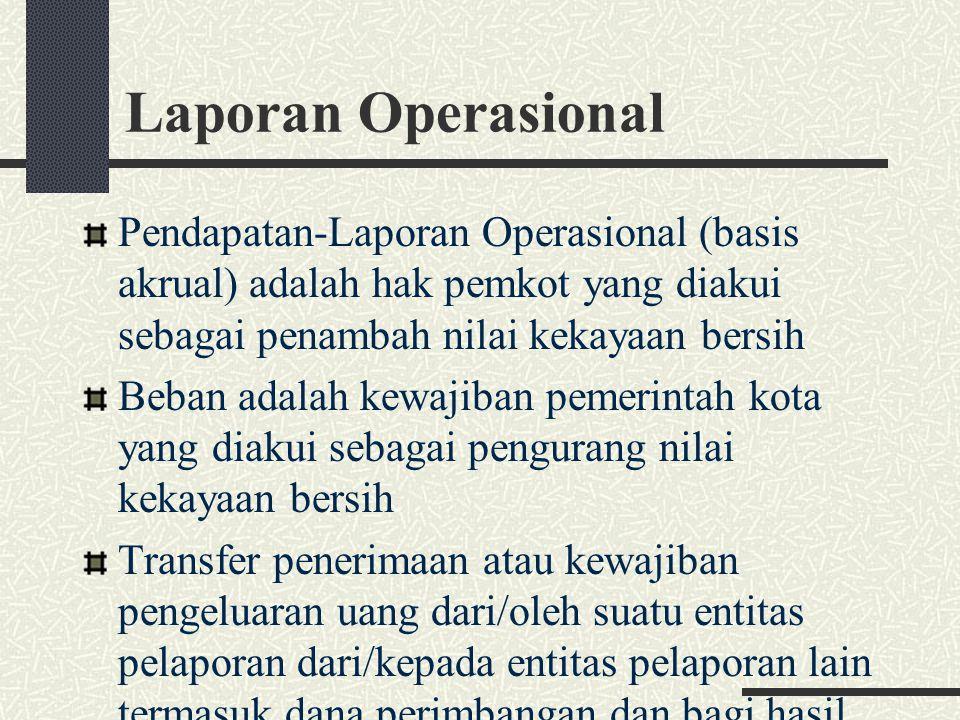 Laporan Operasional Pendapatan-Laporan Operasional (basis akrual) adalah hak pemkot yang diakui sebagai penambah nilai kekayaan bersih Beban adalah ke