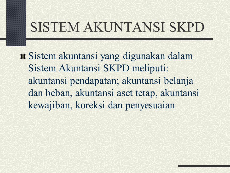 SISTEM AKUNTANSI SKPD Sistem akuntansi yang digunakan dalam Sistem Akuntansi SKPD meliputi: akuntansi pendapatan; akuntansi belanja dan beban, akuntan