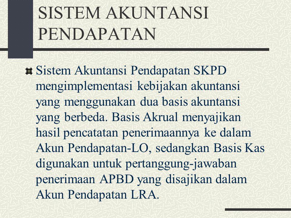 SISTEM AKUNTANSI PENDAPATAN Sistem Akuntansi Pendapatan SKPD mengimplementasi kebijakan akuntansi yang menggunakan dua basis akuntansi yang berbeda. B