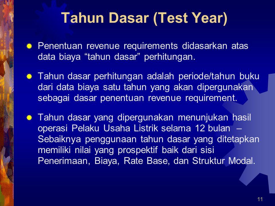 12 Konsep Tahun Dasar (Test Year) 1.