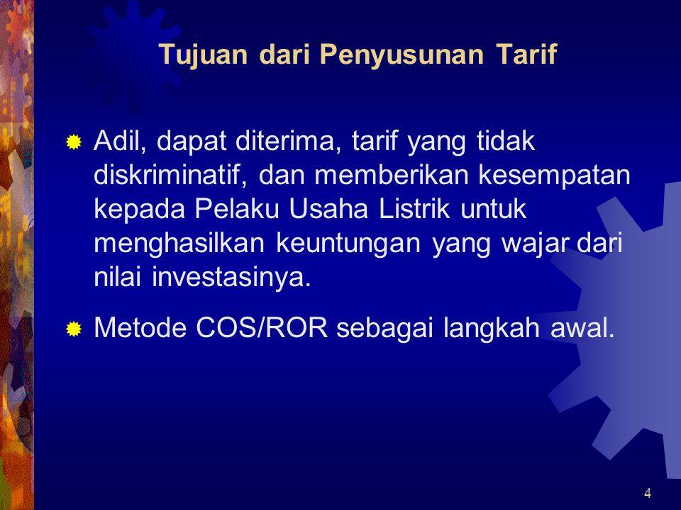 5 Tarif yang diajukan PLN VS Tarif yang dihitung dengan dasar Biaya Pokok Penyediaan (COS/ROR)