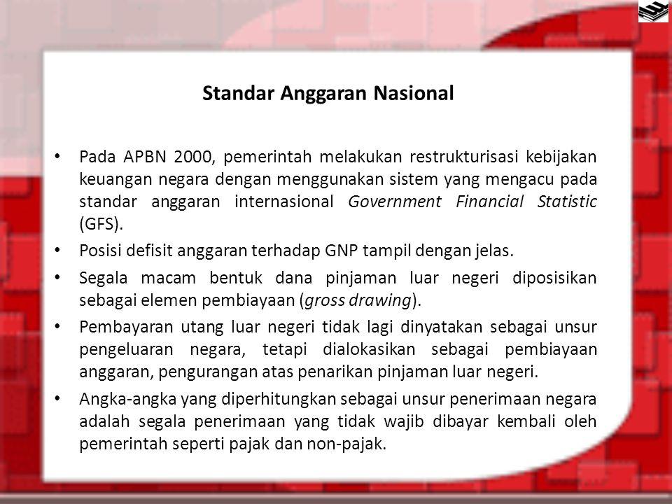 Standar Anggaran Nasional Pada APBN 2000, pemerintah melakukan restrukturisasi kebijakan keuangan negara dengan menggunakan sistem yang mengacu pada s