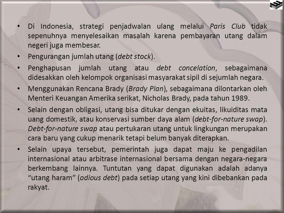 Di Indonesia, strategi penjadwalan ulang melalui Paris Club tidak sepenuhnya menyelesaikan masalah karena pembayaran utang dalam negeri juga membesar.