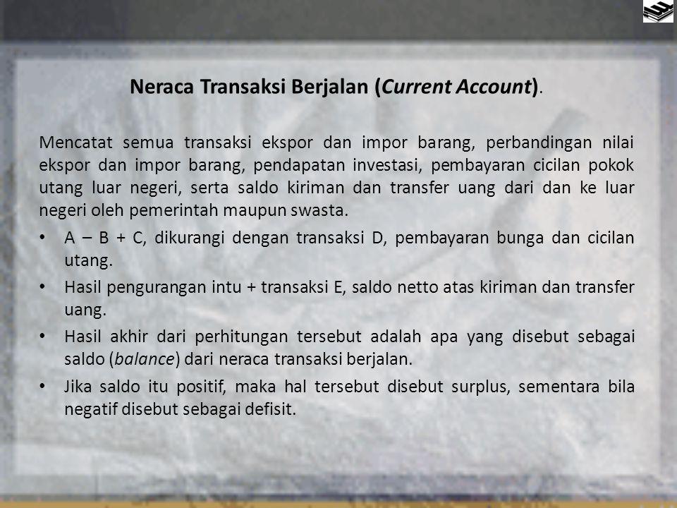 Neraca Transaksi Modal (Capital Account) Neraca transaksi modal antara lain mencatat nilai investasi langsung pihak swasta asing (foreign direct investment), pinjaman luar negeri dari perbankan swasta internasional, serta pinjaman dan hibah dari negara lain atau lembaga- lembaga donor seperti IMF dan Bank Dunia.