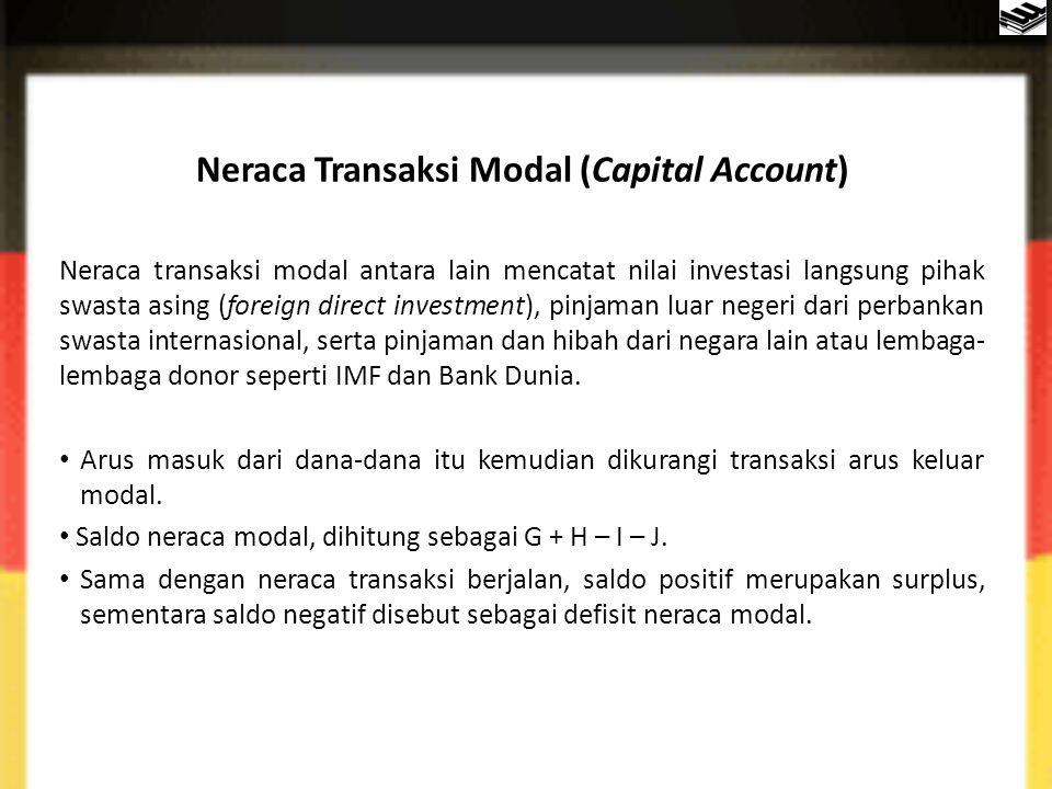 Neraca Transaksi Modal (Capital Account) Neraca transaksi modal antara lain mencatat nilai investasi langsung pihak swasta asing (foreign direct inves