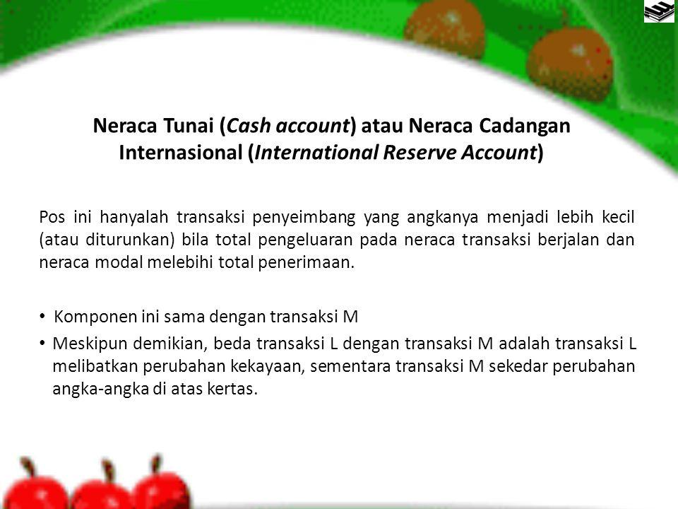 Neraca Tunai (Cash account) atau Neraca Cadangan Internasional (International Reserve Account) Pos ini hanyalah transaksi penyeimbang yang angkanya me
