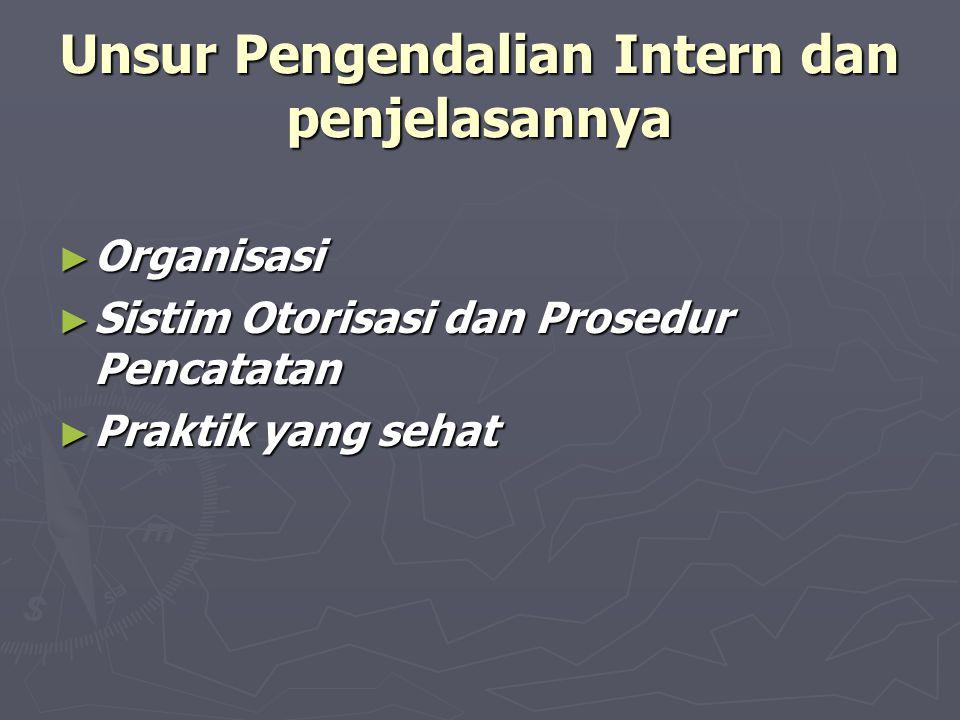 Unsur Pengendalian Intern dan penjelasannya ► Organisasi ► Sistim Otorisasi dan Prosedur Pencatatan ► Praktik yang sehat