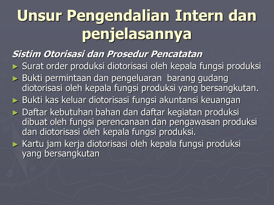 Unsur Pengendalian Intern dan penjelasannya Sistim Otorisasi dan Prosedur Pencatatan ► Surat order produksi diotorisasi oleh kepala fungsi produksi ►