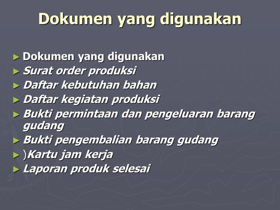 Dokumen yang digunakan ► Dokumen yang digunakan ► Surat order produksi ► Daftar kebutuhan bahan ► Daftar kegiatan produksi ► Bukti permintaan dan peng