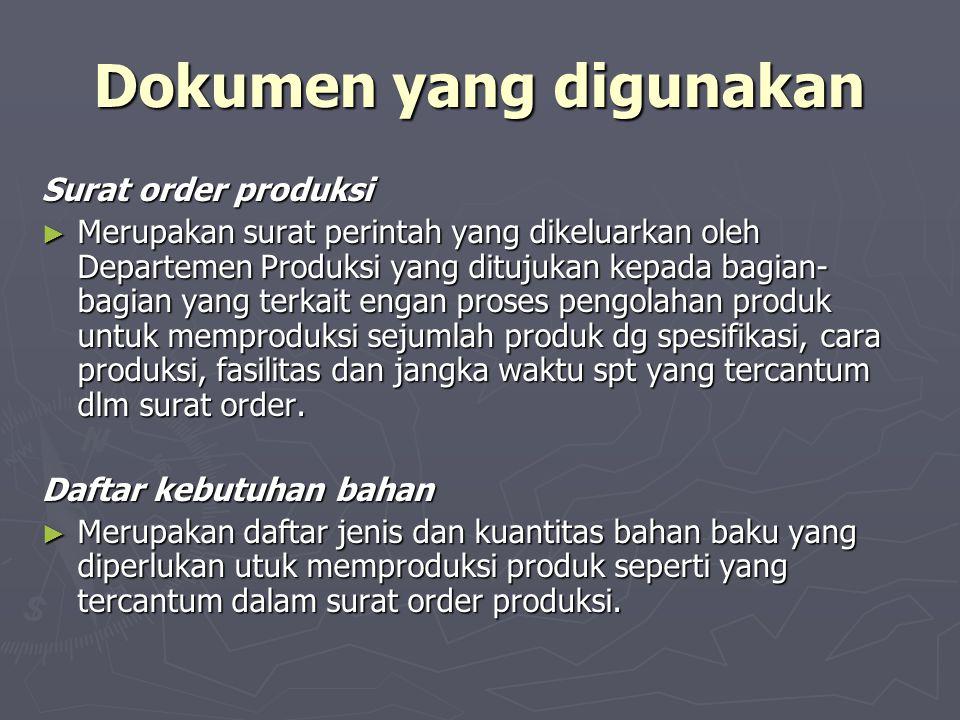 Dokumen yang digunakan Surat order produksi ► Merupakan surat perintah yang dikeluarkan oleh Departemen Produksi yang ditujukan kepada bagian- bagian
