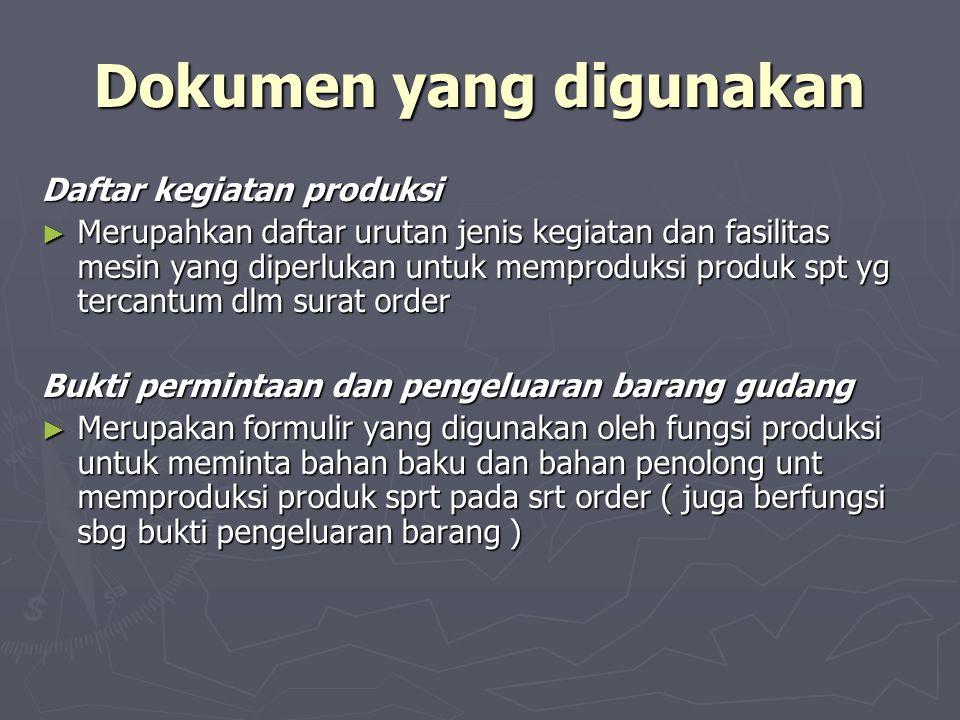 Dokumen yang digunakan Daftar kegiatan produksi ► Merupahkan daftar urutan jenis kegiatan dan fasilitas mesin yang diperlukan untuk memproduksi produk