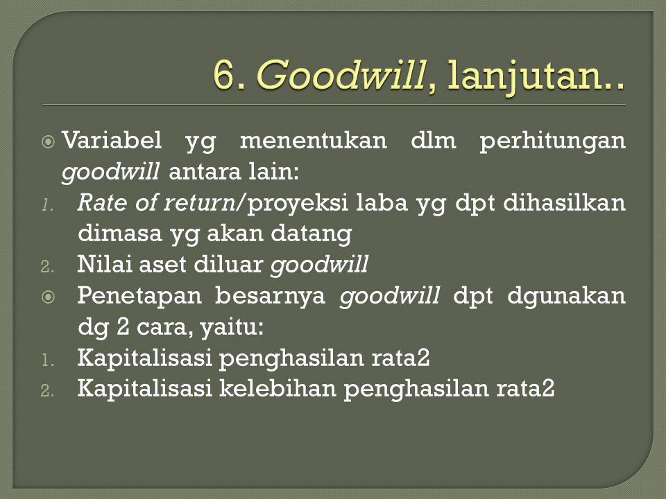  Variabel yg menentukan dlm perhitungan goodwill antara lain: 1. Rate of return/proyeksi laba yg dpt dihasilkan dimasa yg akan datang 2. Nilai aset d