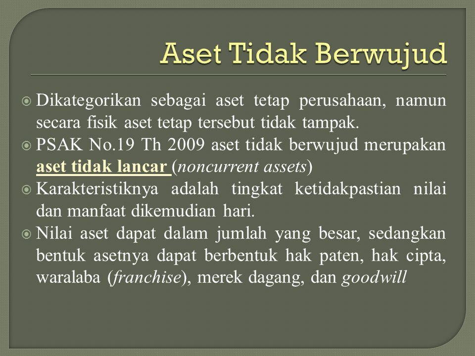  Dikategorikan sebagai aset tetap perusahaan, namun secara fisik aset tetap tersebut tidak tampak.  PSAK No.19 Th 2009 aset tidak berwujud merupakan