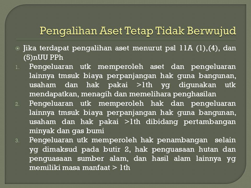  Jika terdapat pengalihan aset menurut psl 11A (1),(4), dan (5)nUU PPh 1. Pengeluaran utk memperoleh aset dan pengeluaran lainnya tmsuk biaya perpanj