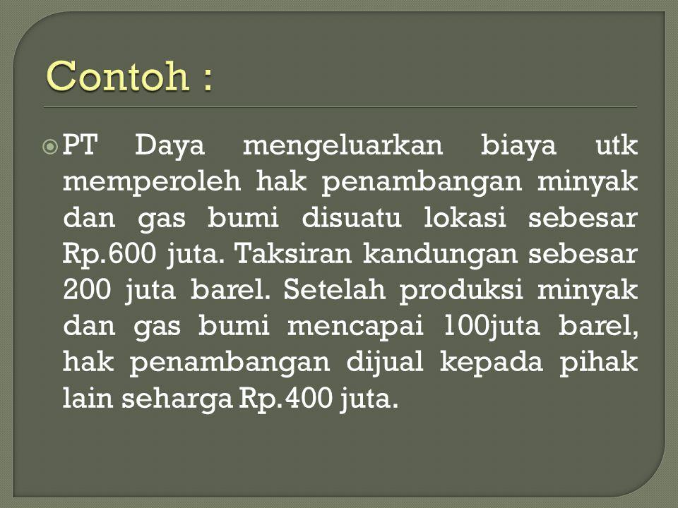  PT Daya mengeluarkan biaya utk memperoleh hak penambangan minyak dan gas bumi disuatu lokasi sebesar Rp.600 juta. Taksiran kandungan sebesar 200 jut