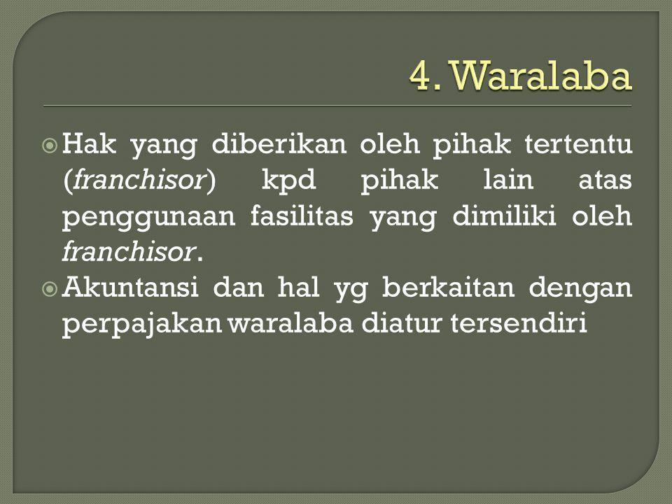  Hak yang diberikan oleh pihak tertentu (franchisor) kpd pihak lain atas penggunaan fasilitas yang dimiliki oleh franchisor.  Akuntansi dan hal yg b
