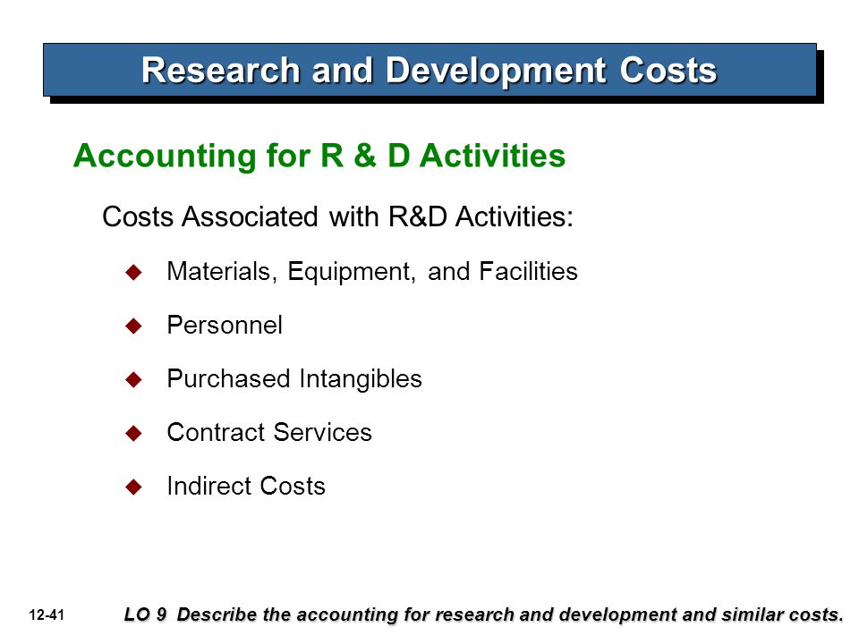 12-41 Accounting for R & D Activities Costs Associated with R&D Activities:  Materials, Equipment, and Facilities  Personnel  Purchased Intangibles  Contract Services  Indirect Costs Research and Development Costs LO 9 Describe the accounting for research and development and similar costs.