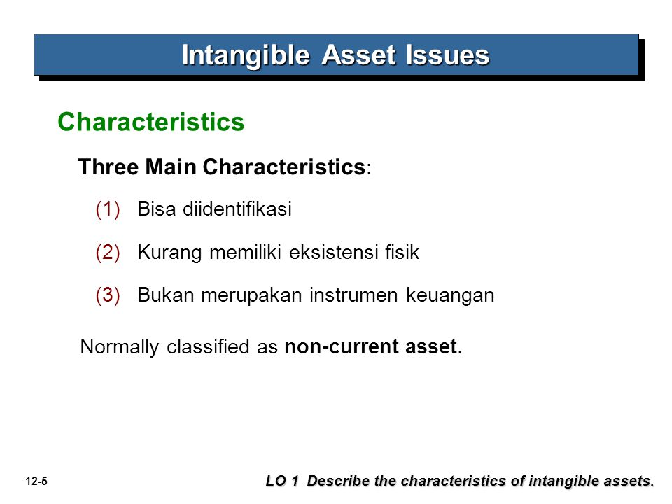 12-5 Intangible Asset Issues LO 1 Describe the characteristics of intangible assets.