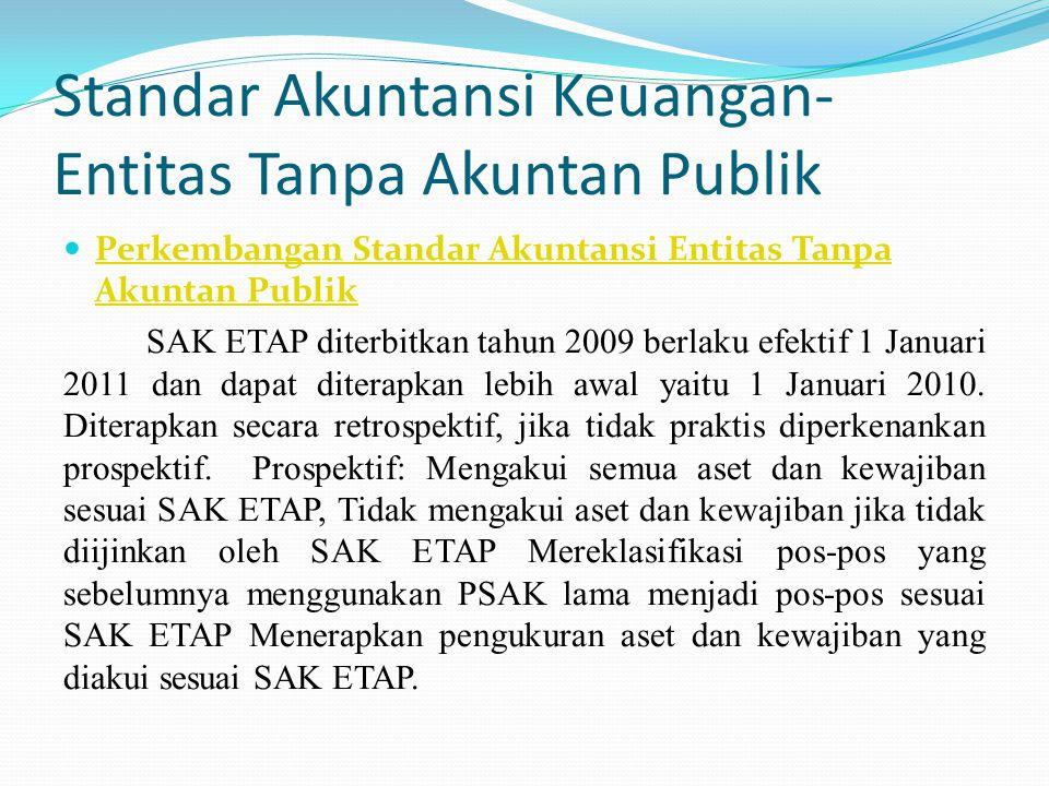 Standar Akuntansi Keuangan- Entitas Tanpa Akuntan Publik Perkembangan Standar Akuntansi Entitas Tanpa Akuntan Publik Perkembangan Standar Akuntansi Entitas Tanpa Akuntan Publik SAK ETAP diterbitkan tahun 2009 berlaku efektif 1 Januari 2011 dan dapat diterapkan lebih awal yaitu 1 Januari 2010.