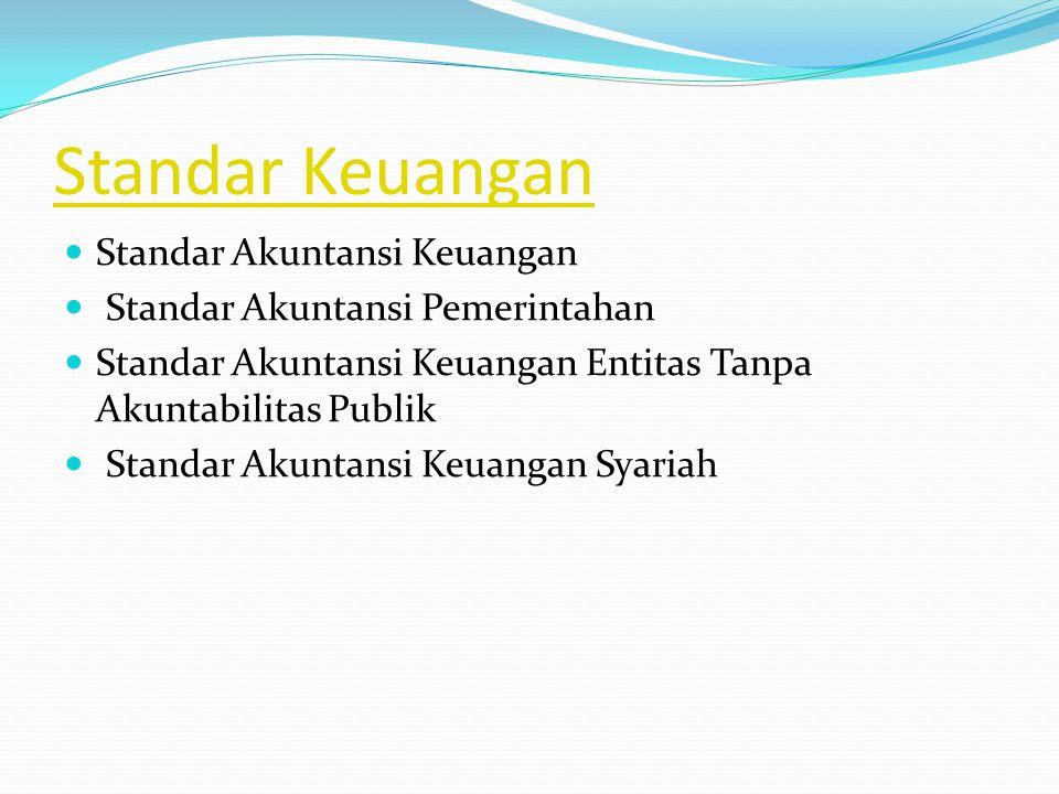 Standar Keuangan Standar Akuntansi Keuangan Standar Akuntansi Pemerintahan Standar Akuntansi Keuangan Entitas Tanpa Akuntabilitas Publik Standar Akuntansi Keuangan Syariah
