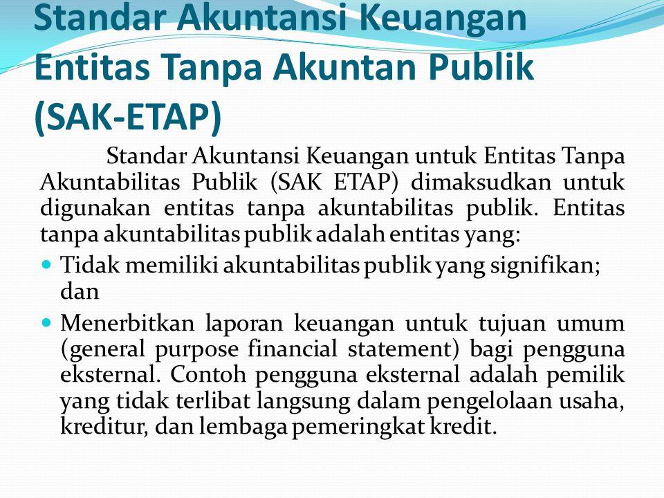 Standar Akuntansi Keuangan Entitas Tanpa Akuntan Publik (SAK-ETAP) Standar Akuntansi Keuangan untuk Entitas Tanpa Akuntabilitas Publik (SAK ETAP) dimaksudkan untuk digunakan entitas tanpa akuntabilitas publik.