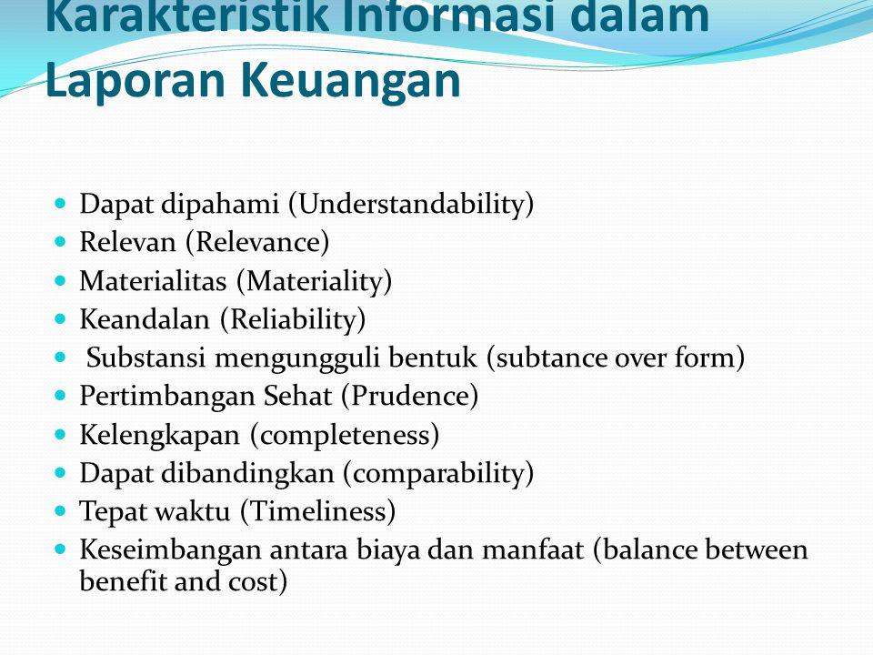 Karakteristik Informasi dalam Laporan Keuangan Dapat dipahami (Understandability) Relevan (Relevance) Materialitas (Materiality) Keandalan (Reliability) Substansi mengungguli bentuk (subtance over form) Pertimbangan Sehat (Prudence) Kelengkapan (completeness) Dapat dibandingkan (comparability) Tepat waktu (Timeliness) Keseimbangan antara biaya dan manfaat (balance between benefit and cost)