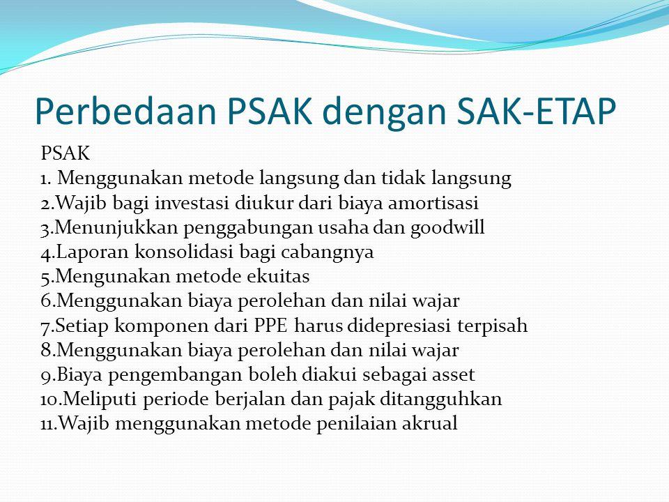 Perbedaan PSAK dengan SAK-ETAP PSAK 1. Menggunakan metode langsung dan tidak langsung 2.Wajib bagi investasi diukur dari biaya amortisasi 3.Menunjukka