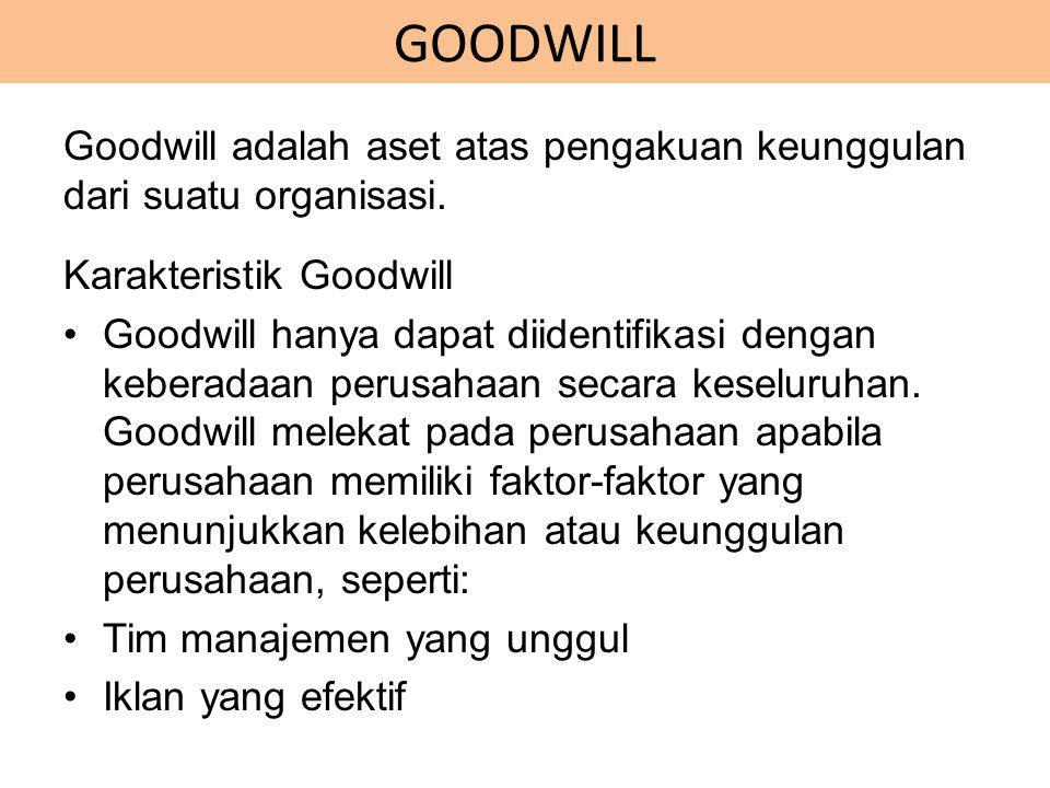 GOODWILL Goodwill adalah aset atas pengakuan keunggulan dari suatu organisasi. Karakteristik Goodwill Goodwill hanya dapat diidentifikasi dengan keber