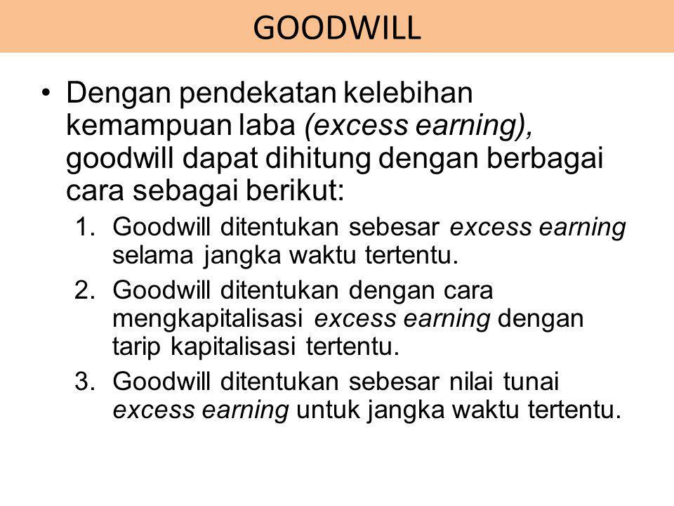 Dengan pendekatan kelebihan kemampuan laba (excess earning), goodwill dapat dihitung dengan berbagai cara sebagai berikut: 1.Goodwill ditentukan sebes