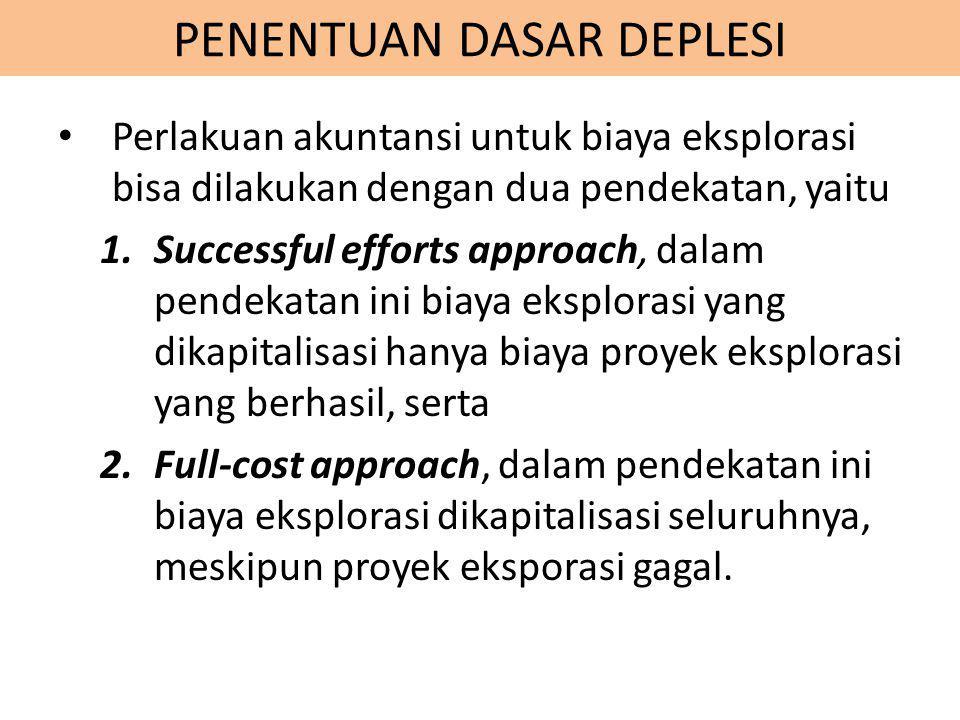 PENENTUAN DASAR DEPLESI Perlakuan akuntansi untuk biaya eksplorasi bisa dilakukan dengan dua pendekatan, yaitu 1.Successful efforts approach, dalam pe