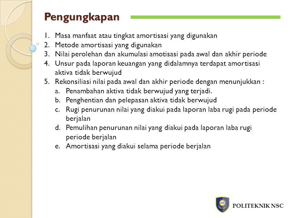 Pengungkapan POLITEKNIK NSC 1.Masa manfaat atau tingkat amortisasi yang digunakan 2.Metode amortisasi yang digunakan 3.Nilai perolehan dan akumulasi a