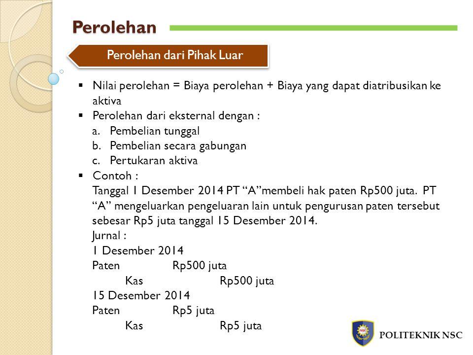 Perolehan POLITEKNIK NSC Perolehan dari Pihak Luar  Nilai perolehan = Biaya perolehan + Biaya yang dapat diatribusikan ke aktiva  Perolehan dari eks
