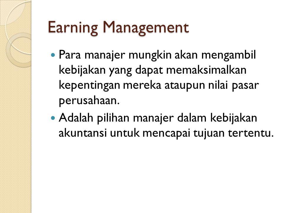 Earning Management Para manajer mungkin akan mengambil kebijakan yang dapat memaksimalkan kepentingan mereka ataupun nilai pasar perusahaan. Adalah pi