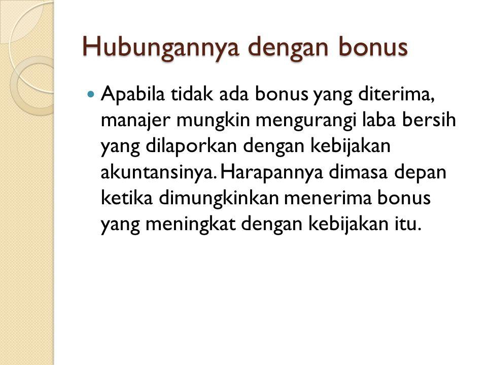 Hubungannya dengan bonus Apabila tidak ada bonus yang diterima, manajer mungkin mengurangi laba bersih yang dilaporkan dengan kebijakan akuntansinya.