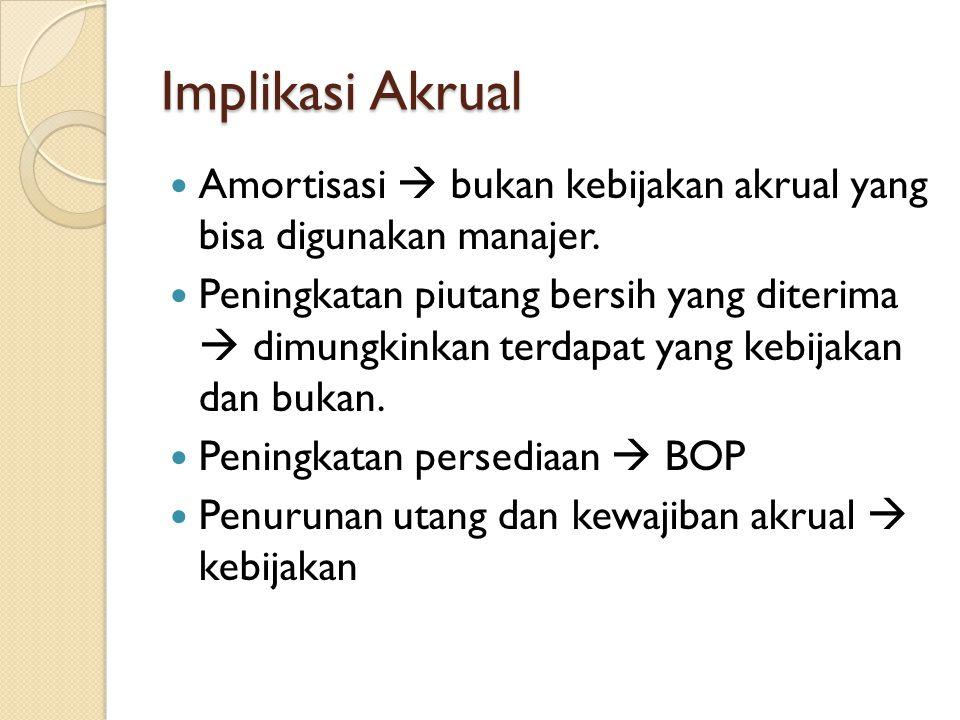 Implikasi Akrual Amortisasi  bukan kebijakan akrual yang bisa digunakan manajer. Peningkatan piutang bersih yang diterima  dimungkinkan terdapat yan