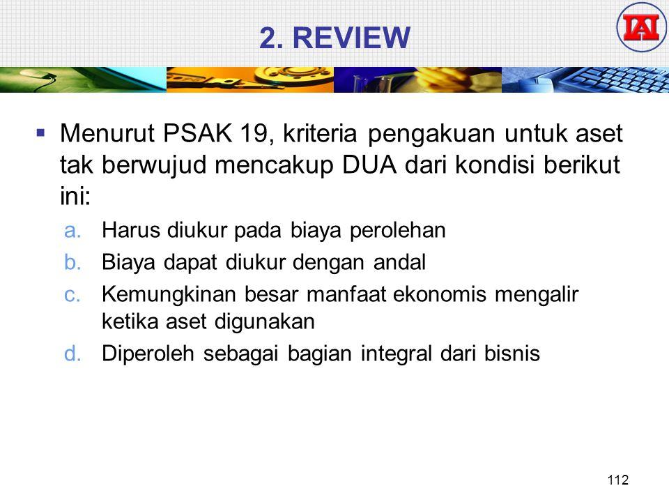 2. REVIEW  Menurut PSAK 19, kriteria pengakuan untuk aset tak berwujud mencakup DUA dari kondisi berikut ini: a.Harus diukur pada biaya perolehan b.B