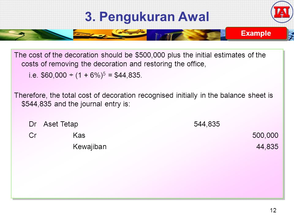 3. Pengukuran Awal The cost of the decoration should be $500,000 plus the initial estimates of the costs of removing the decoration and restoring the