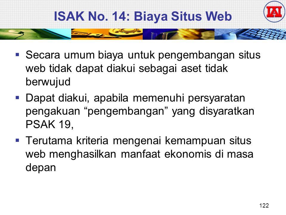 ISAK No. 14: Biaya Situs Web  Secara umum biaya untuk pengembangan situs web tidak dapat diakui sebagai aset tidak berwujud  Dapat diakui, apabila m