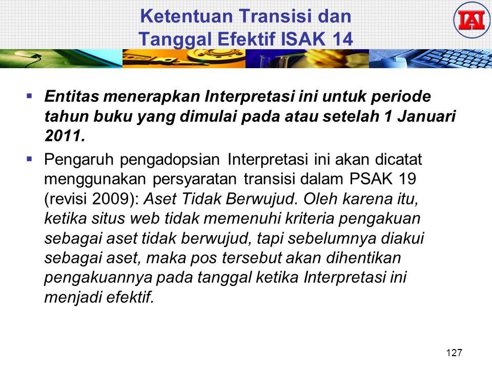  Entitas menerapkan Interpretasi ini untuk periode tahun buku yang dimulai pada atau setelah 1 Januari 2011.  Pengaruh pengadopsian Interpretasi ini