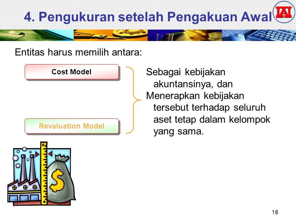4. Pengukuran setelah Pengakuan Awal Entitas harus memilih antara: Cost Model Revaluation Model Sebagai kebijakan akuntansinya, dan Menerapkan kebijak