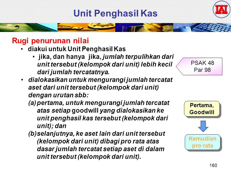 Unit Penghasil Kas Rugi penurunan nilai diakui untuk Unit Penghasil Kas jika, dan hanya jika, jumlah terpulihkan dari unit tersebut (kelompok dari uni