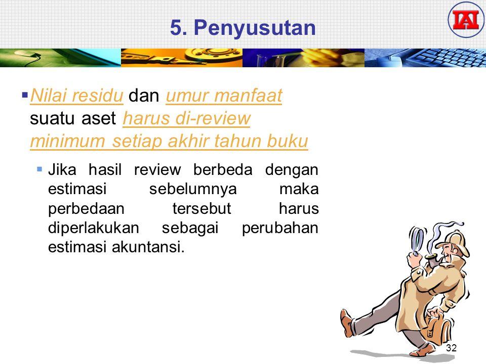 5. Penyusutan  Nilai residu dan umur manfaat suatu aset harus di-review minimum setiap akhir tahun buku  Jika hasil review berbeda dengan estimasi s