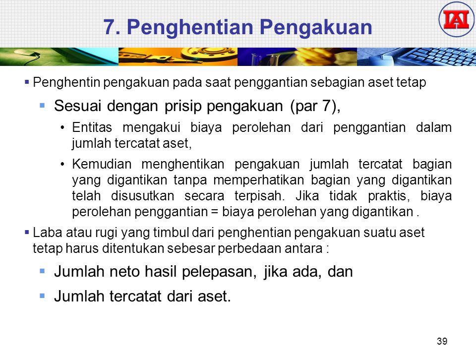 7. Penghentian Pengakuan  Penghentin pengakuan pada saat penggantian sebagian aset tetap  Sesuai dengan prisip pengakuan (par 7), Entitas mengakui b