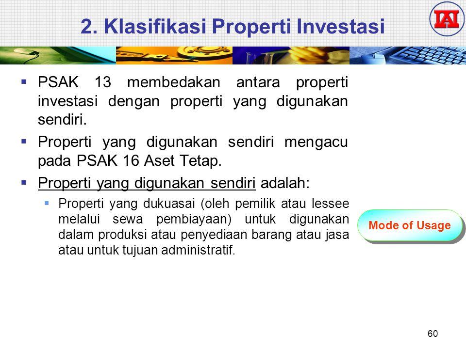 2. Klasifikasi Properti Investasi  PSAK 13 membedakan antara properti investasi dengan properti yang digunakan sendiri.  Properti yang digunakan sen