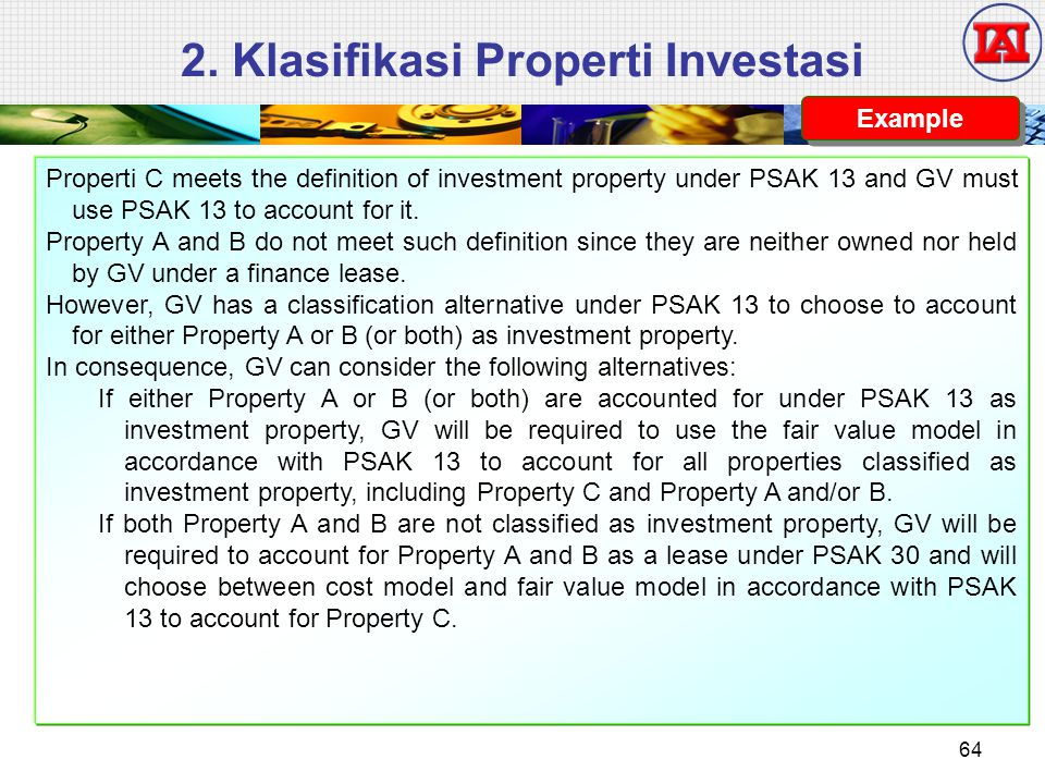 Properti C meets the definition of investment property under PSAK 13 and GV must use PSAK 13 to account for it.