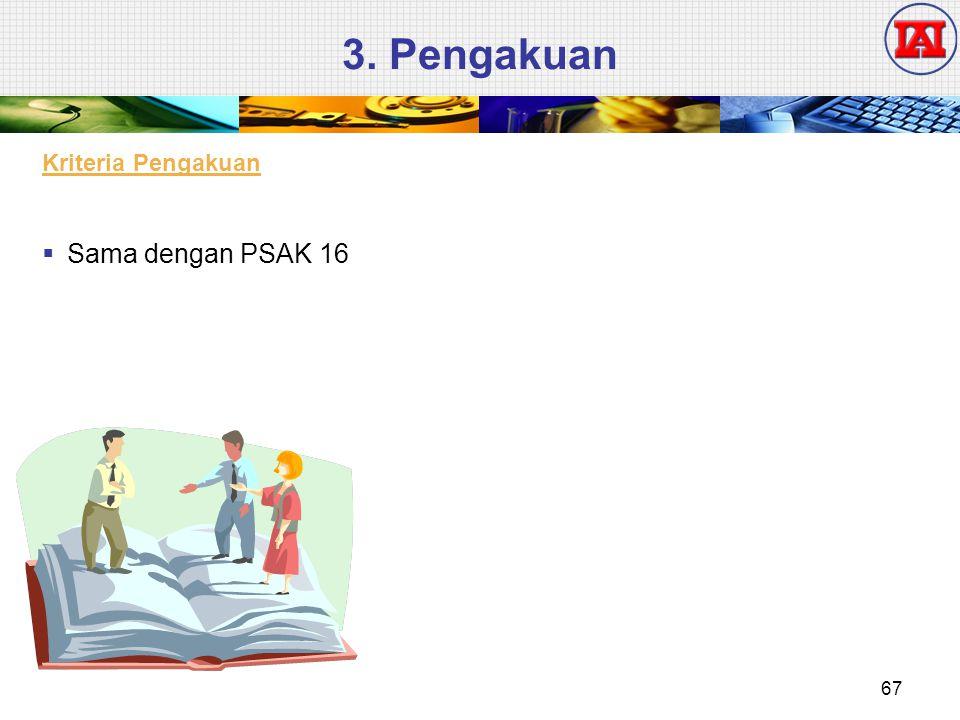 3. Pengakuan  Sama dengan PSAK 16 Kriteria Pengakuan 67