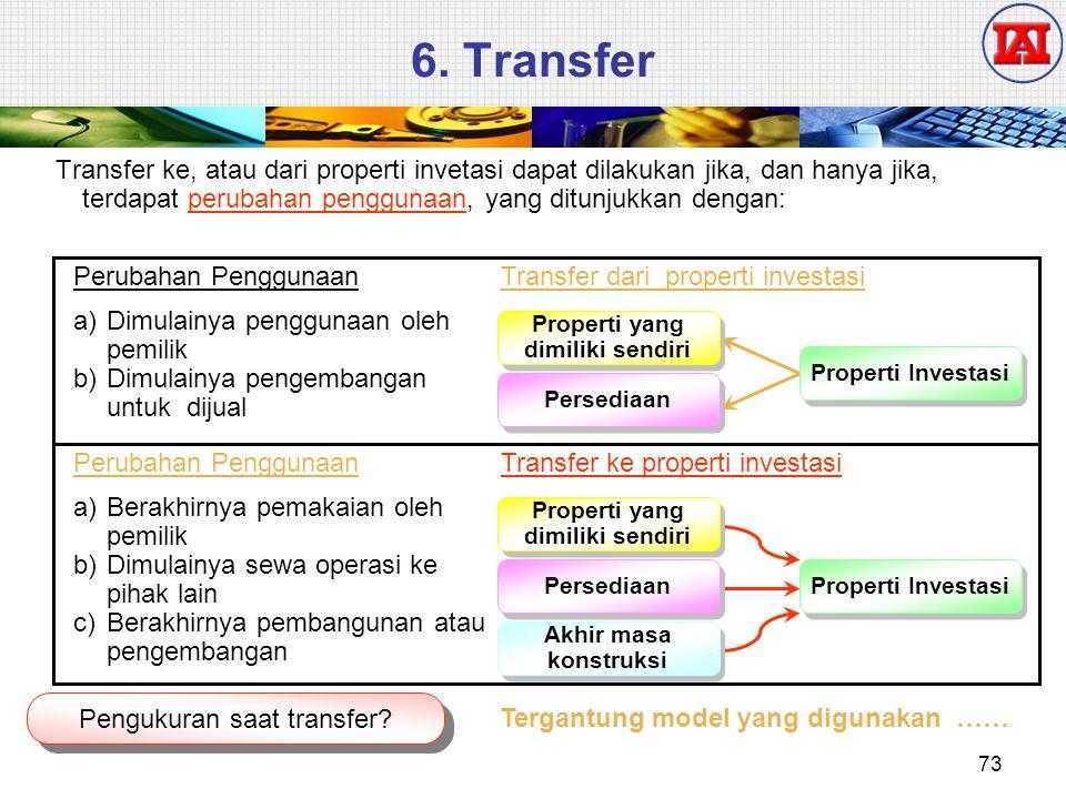 6. Transfer Transfer ke, atau dari properti invetasi dapat dilakukan jika, dan hanya jika, terdapat perubahan penggunaan, yang ditunjukkan dengan: Pen