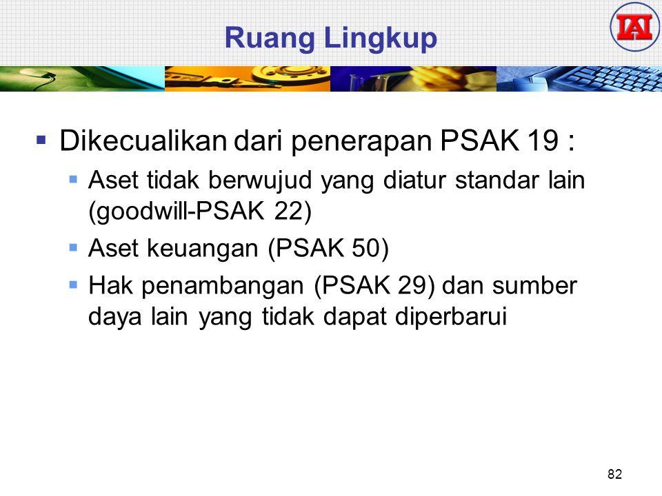 Ruang Lingkup  Dikecualikan dari penerapan PSAK 19 :  Aset tidak berwujud yang diatur standar lain (goodwill-PSAK 22)  Aset keuangan (PSAK 50)  Ha