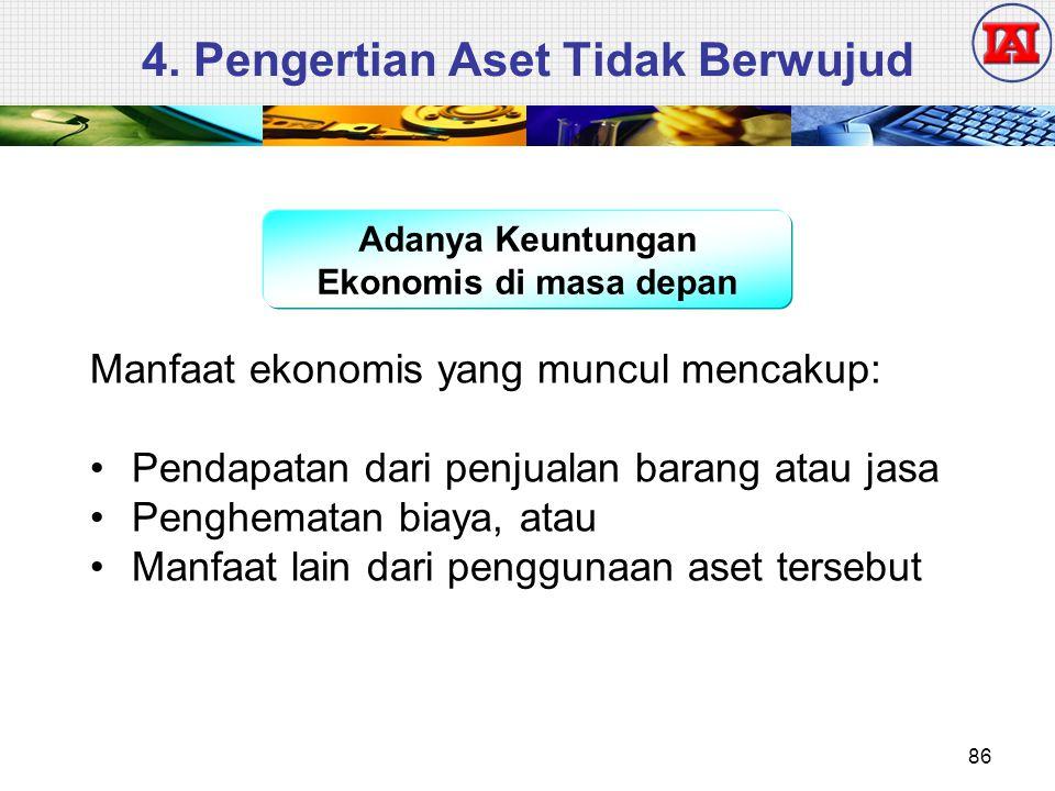 4. Pengertian Aset Tidak Berwujud Adanya Keuntungan Ekonomis di masa depan Manfaat ekonomis yang muncul mencakup: Pendapatan dari penjualan barang ata